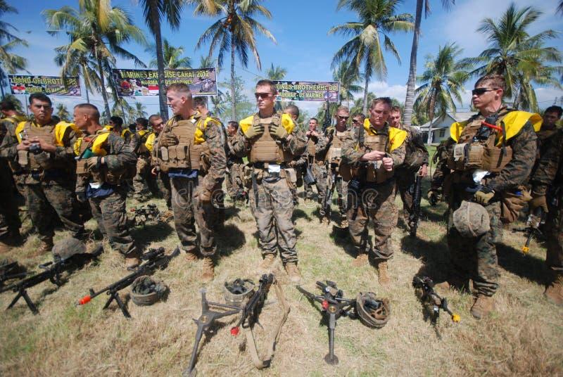 美国陆战队在印度尼西亚 图库摄影