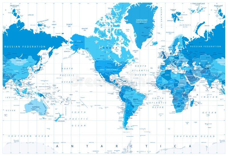 美国集中了政治世界地图蓝色颜色 向量例证