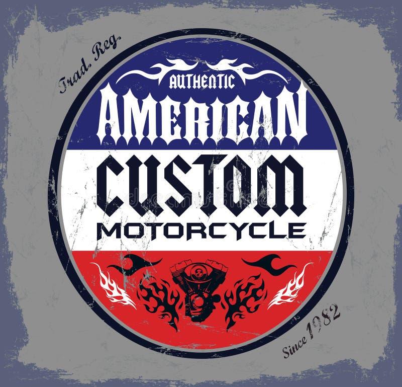 美国风俗-砍刀摩托车徽章 向量例证