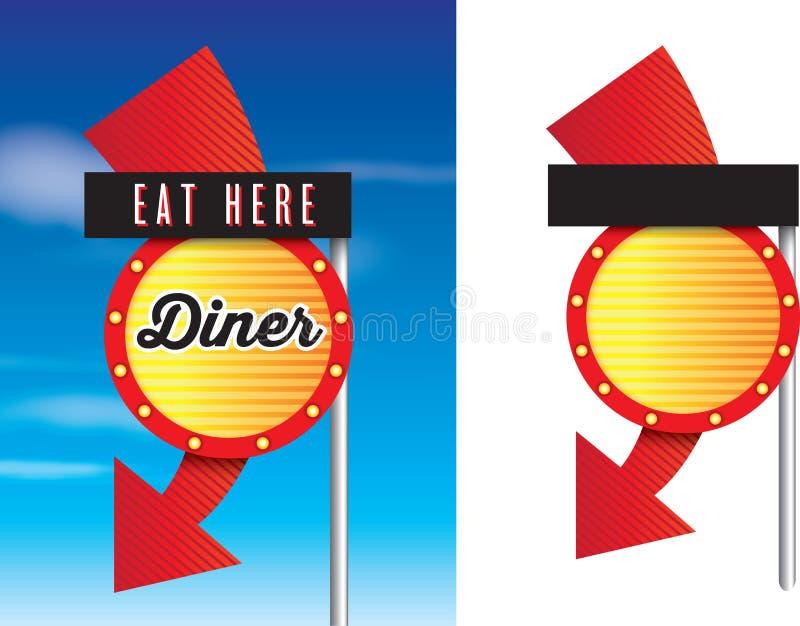 美国风格的减速火箭的葡萄酒20世纪50年代吃饭的客人标志 库存例证