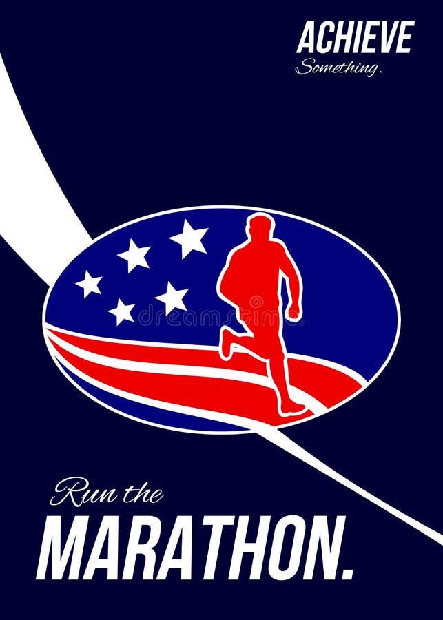 美国马拉松达到某事海报 向量例证