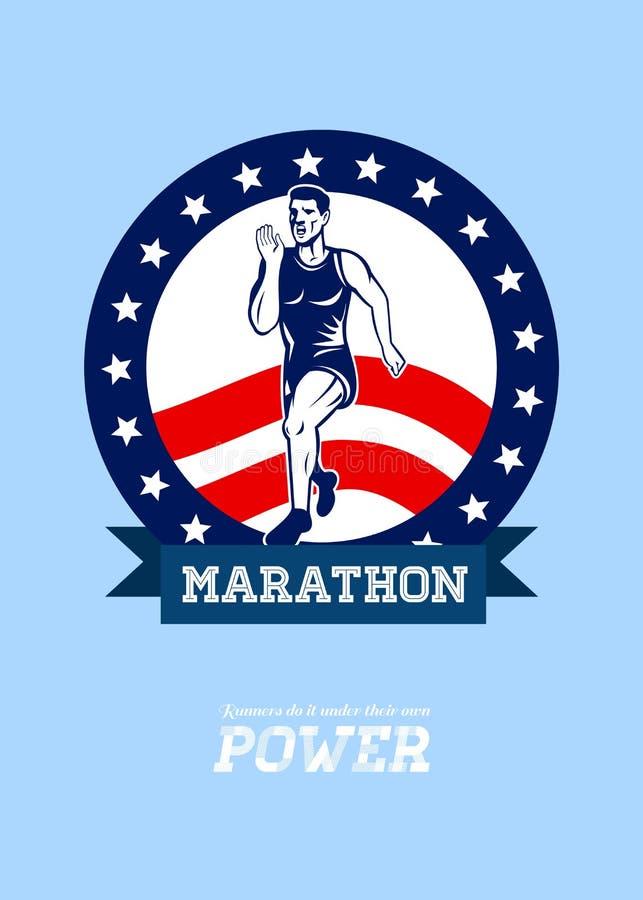 美国马拉松运动员力量海报 皇族释放例证