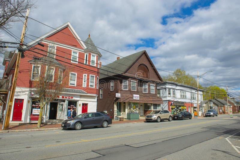 美国马萨诸塞州北安多弗市历史商业建筑 免版税库存图片