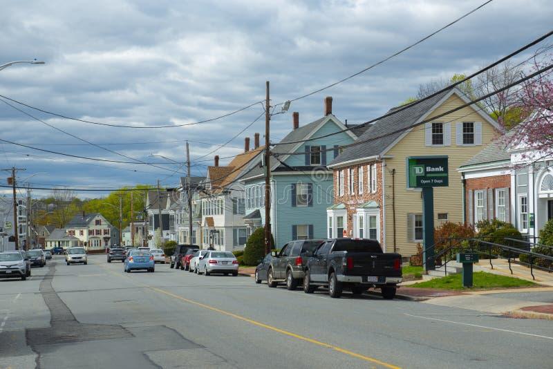 美国马萨诸塞州北安多弗市历史商业建筑 免版税库存照片