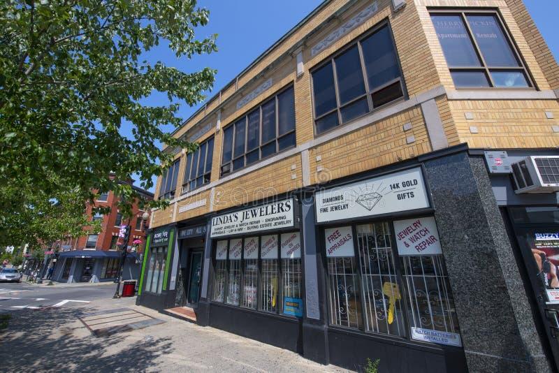 美国马萨诸塞州林恩市历史商业建筑 库存照片