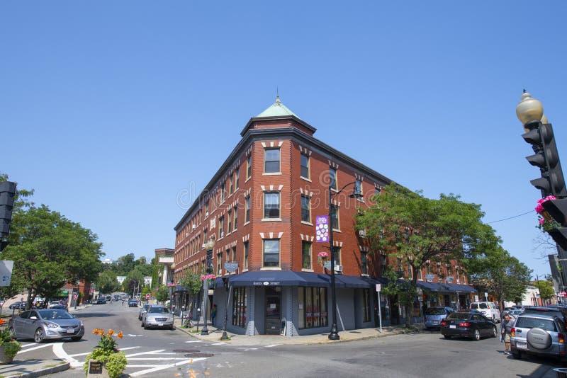 美国马萨诸塞州林恩市历史商业建筑 免版税库存图片