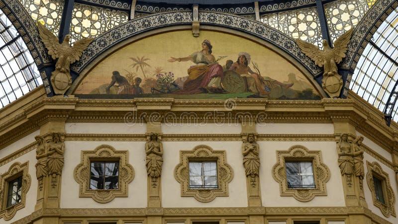 美国马赛克,圆顶场所维托里奥・埃曼努埃莱・迪・萨伏伊II,米兰,意大利 库存图片