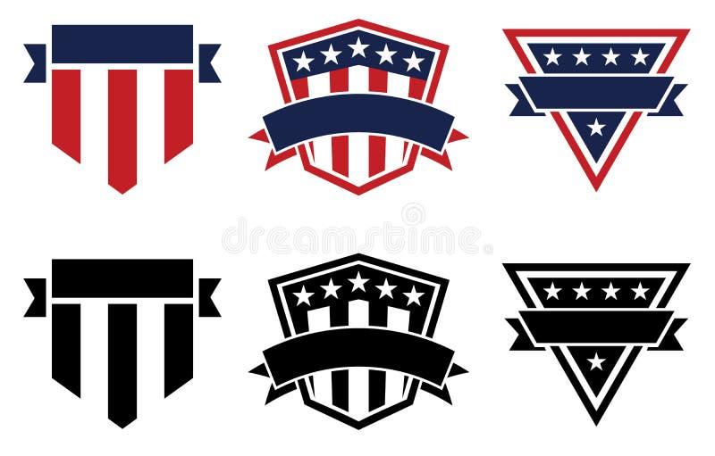 美国骄傲爱国星条旗标识、红白、蓝和黑、孤立矢量图插图 图库摄影