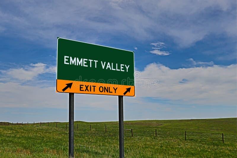 美国高速公路Emmett谷的出口标志 库存图片