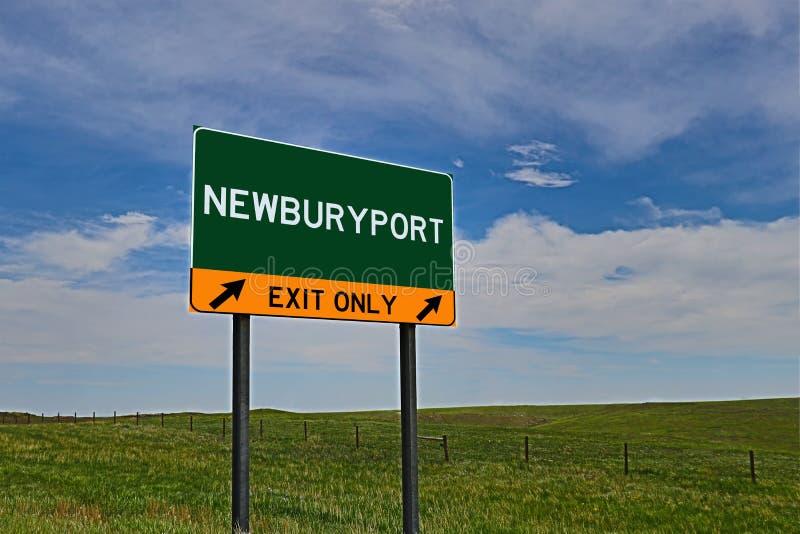 美国高速公路Newburyport的出口标志 免版税库存图片
