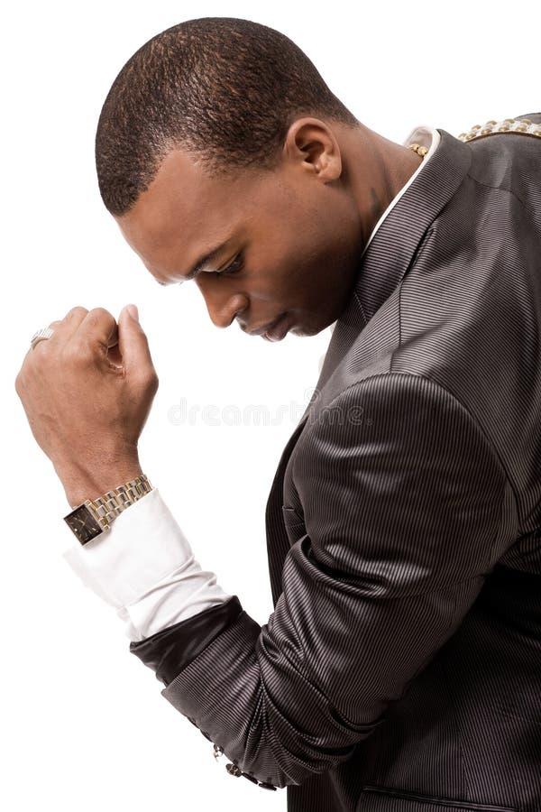 美国黑人的商人年轻人 免版税图库摄影