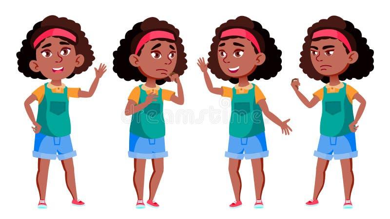 美国黑人的女孩传染媒介 投反对票 学校学生 欢呼,俏丽,青年时期 对介绍,印刷品,邀请设计 库存例证