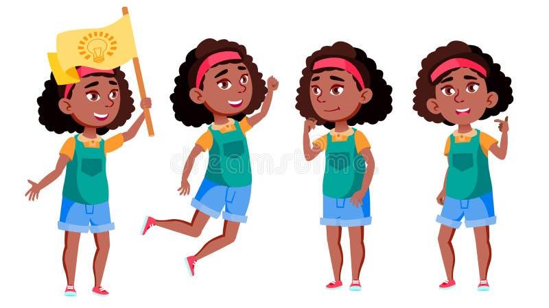 美国黑人的女孩集合传染媒介 投反对票 教育 便衣,朋友 对广告,问候,公告 库存例证