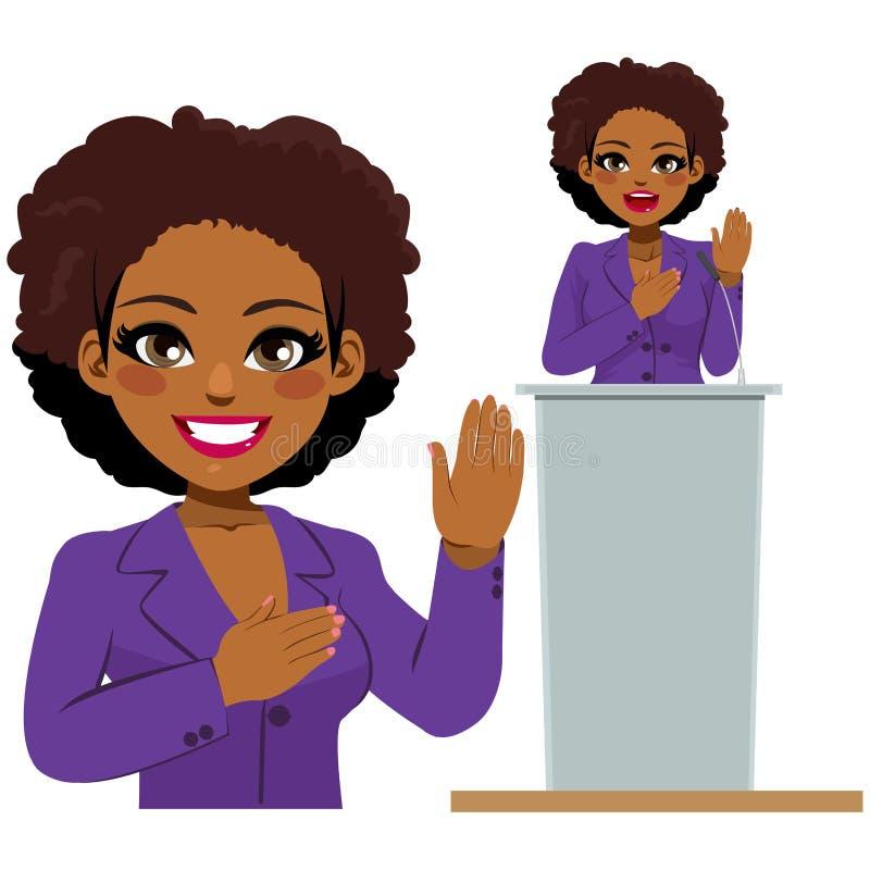 美国黑人的妇女政客誓言 皇族释放例证