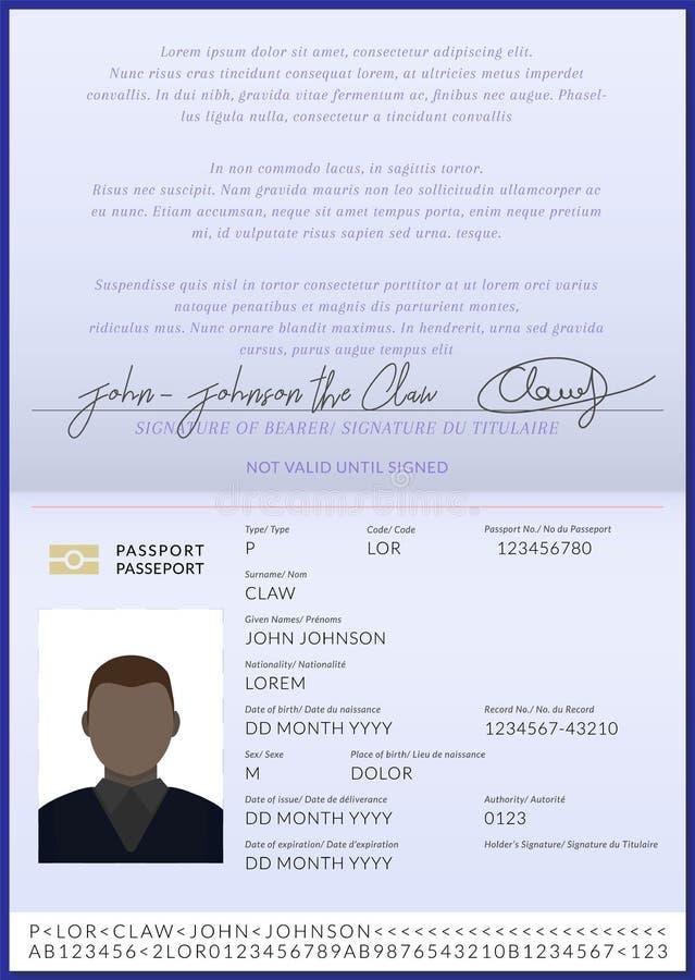 美国黑人的护照小册子模板 皇族释放例证
