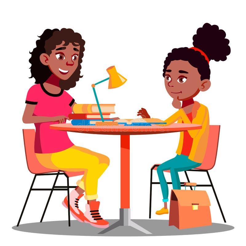美国黑人的母亲帮助孩子做学校家庭作业传染媒介 按钮查出的现有量例证推进s启动妇女 库存例证