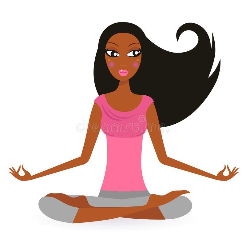 美国黑人的莲花姿势女子瑜伽 皇族释放例证