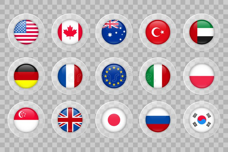 美国,加拿大,澳大利亚,土耳其,阿拉伯联合酋长国,德国,法国,欧盟,在透明的意大利,波兰,新加坡,英国,日本,俄罗斯,韩国旗子 向量例证