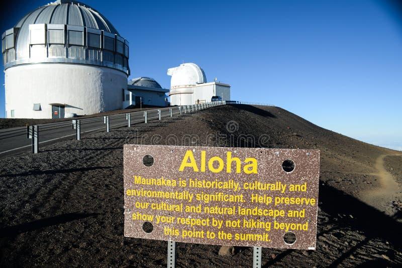 美国,夏威夷,大岛 冒纳凯阿火山观测所 免版税库存图片