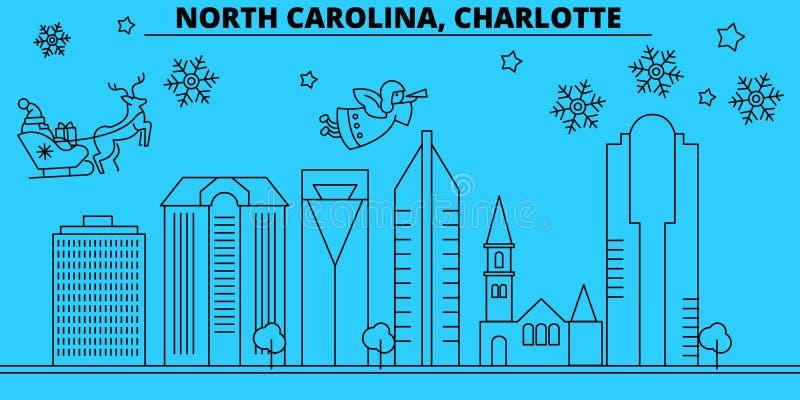 美国,夏洛特寒假地平线 圣诞快乐,新年快乐装饰了与圣诞老人的横幅 库存例证