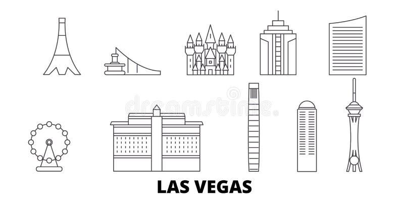 美国,拉斯维加斯线旅行地平线集合 美国,拉斯维加斯概述城市传染媒介例证,标志 库存例证