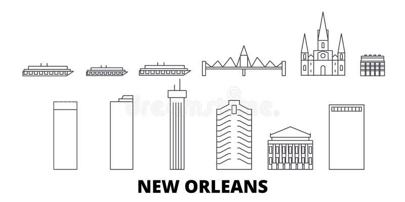 美国,新奥尔良线旅行地平线集合 美国,新奥尔良概述城市传染媒介例证,标志 皇族释放例证