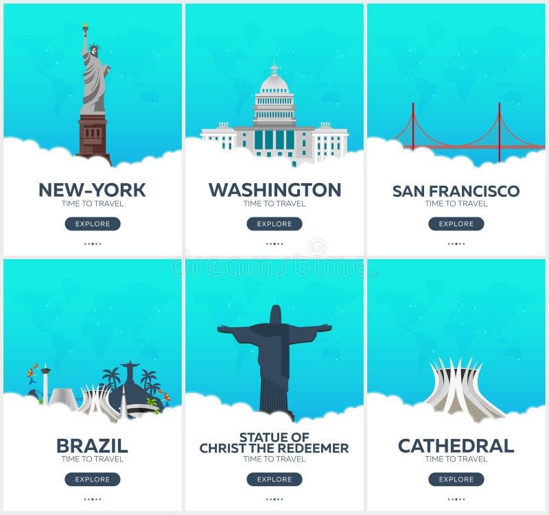 美国,巴西 时刻旅行 套旅行海报 传染媒介平的例证 皇族释放例证