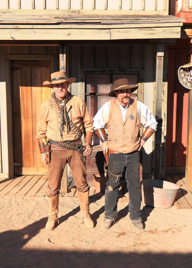 美国, AZ/Tombstone :老西部-枪战演员 图库摄影