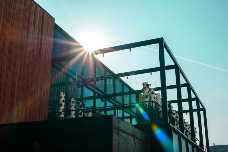美国 — 6月1日:2016年6月1日,美国洛杉矶,现代建筑建筑如日中天 库存照片