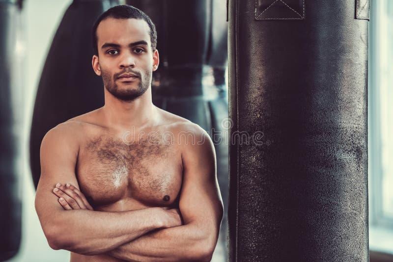 美国黑人的拳击手 库存照片