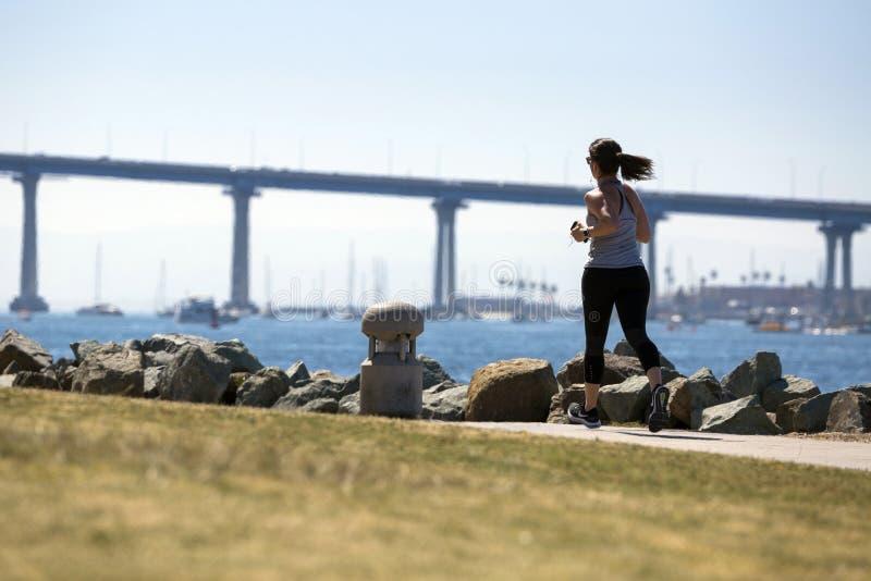 美国-加利福尼亚-圣地亚哥- embarcadero小游艇船坞公园和科罗纳多桥梁全景 免版税图库摄影