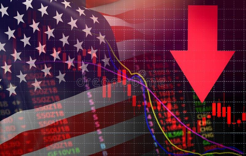 美国 在图秋天美国美国旗子下的美国市场股票危机红色价格箭头 皇族释放例证