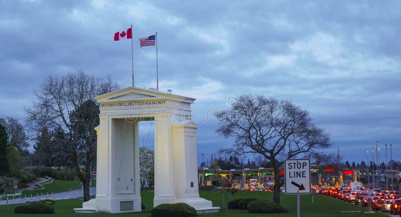 美国-在温哥华-加拿大附近的加拿大边界 免版税库存照片