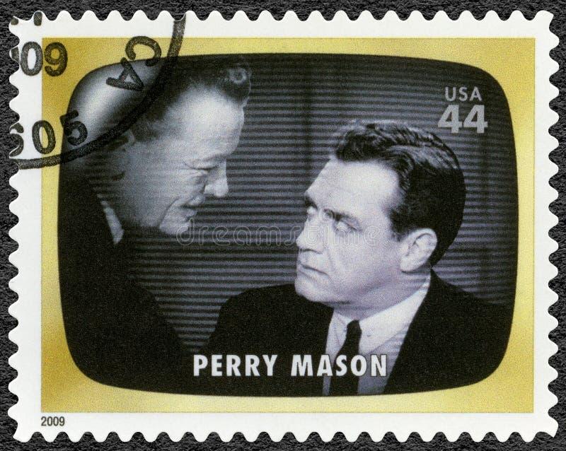 美国-大约2009年:展示佩瑞・梅森,早期的电视记忆 库存图片