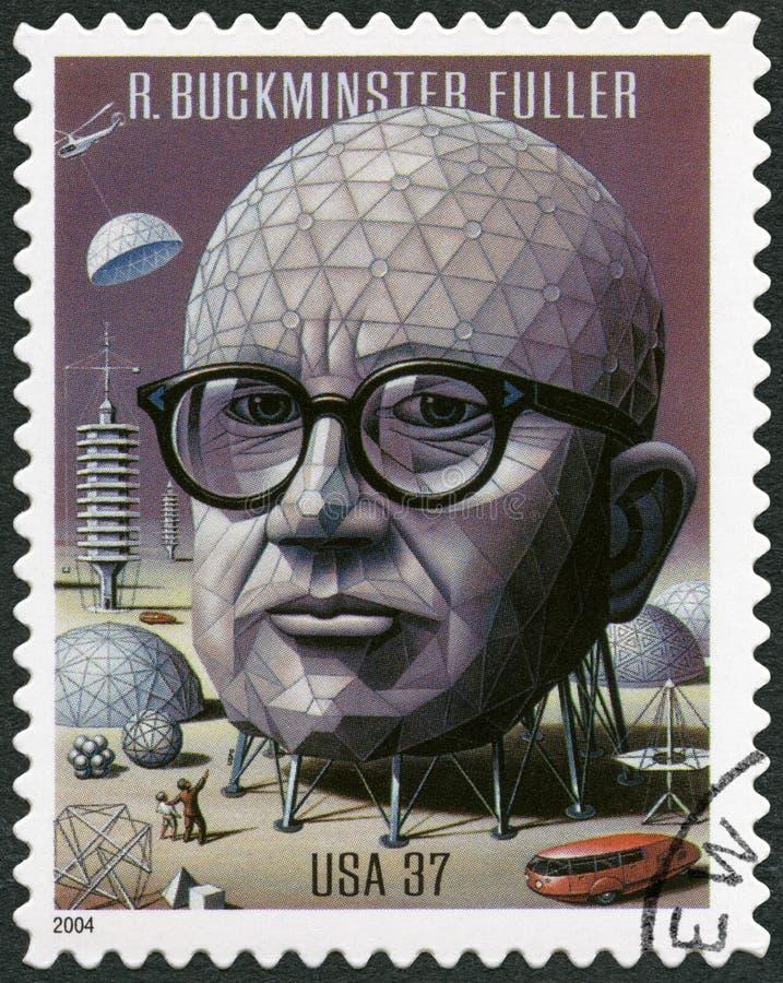 美国- 2004年:展示理查巴克敏斯特布基更加充分1895-1983,建筑师、设计师和发明者 库存图片