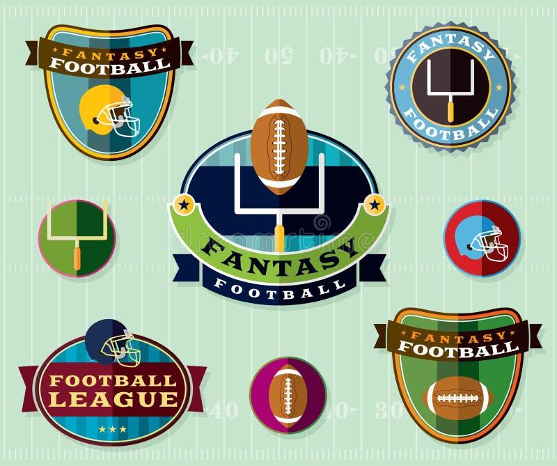 美国幻想橄榄球象征设置了例证 库存例证