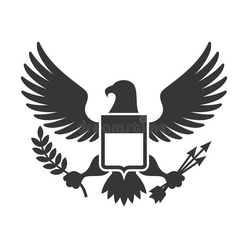 美国总统标志 与盾商标的老鹰 向量 皇族释放例证