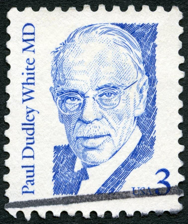 美国- 1986年:展示保罗达德利白色MD (1886-1973),美国医师和心脏科医师,系列了不起的美国人 库存照片