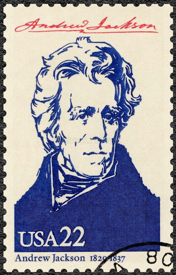 美国- 1986年:显示画象安德鲁・约翰逊1767-1845,美国的第七位总统,美国的系列总统 免版税库存图片