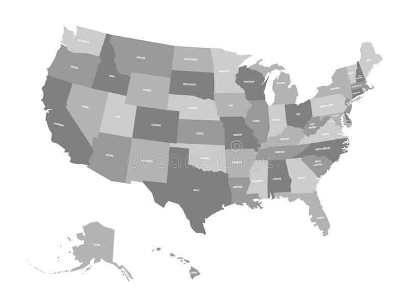 美国od美国,美国政治地图  简单的平的传染媒介地图在灰色四片树荫下与白色状态名字的 皇族释放例证