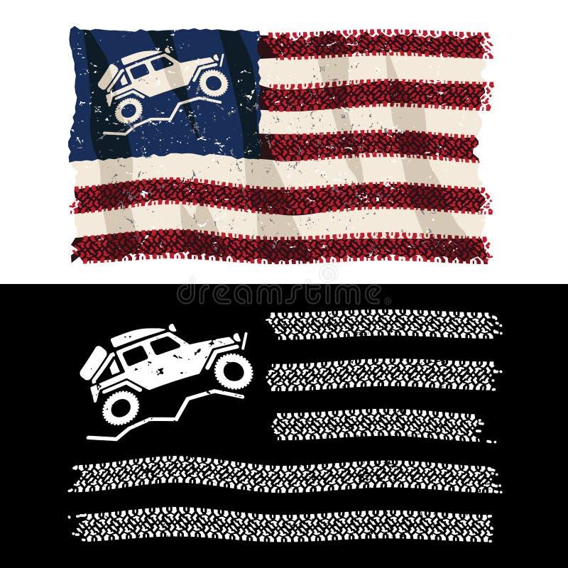 美国OVER着陆器4x4越野冒险爱国轮胎胎面旗分离矢量图 免版税库存照片