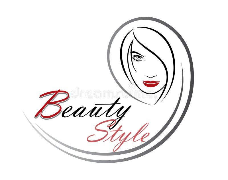 美女传染媒介美发店的,美容院,化妆做法,温泉中心商标模板 传染媒介头发的商标模板 向量例证