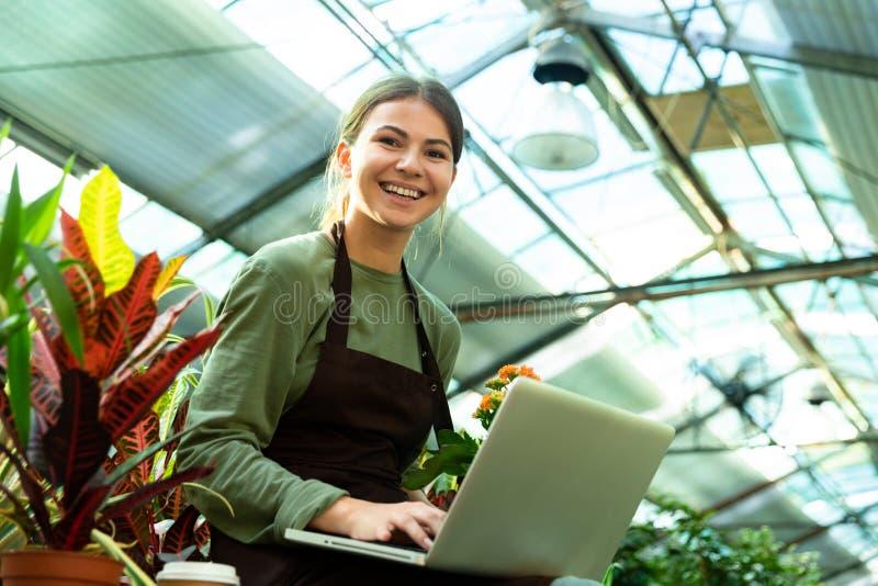 美女佩带的围裙藏品植物和使用膝上型计算机的图象,当工作自温室时 免版税图库摄影