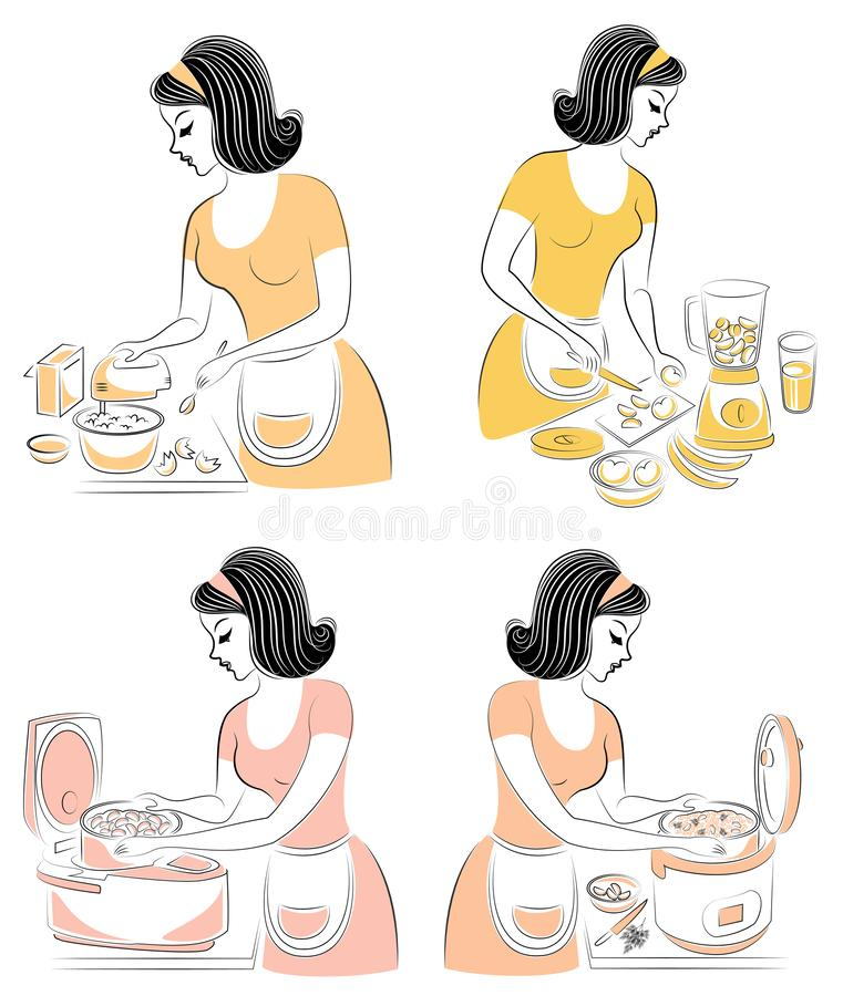 ?? 美女准备在multivarker的食物,做汁液搅拌器,并且与搅拌器混合产品 A 皇族释放例证