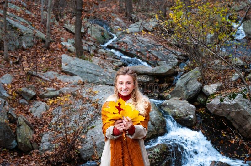 美女在有黄色叶子的秋天森林里,微笑和享受自然 汽车城市概念都伯林映射小的旅行 免版税库存照片