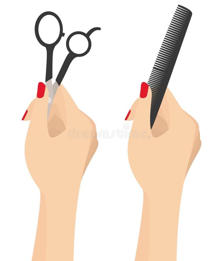 美女手藏品美发师梳子和剪紧密在白色隔绝的传染媒介例证 向量例证