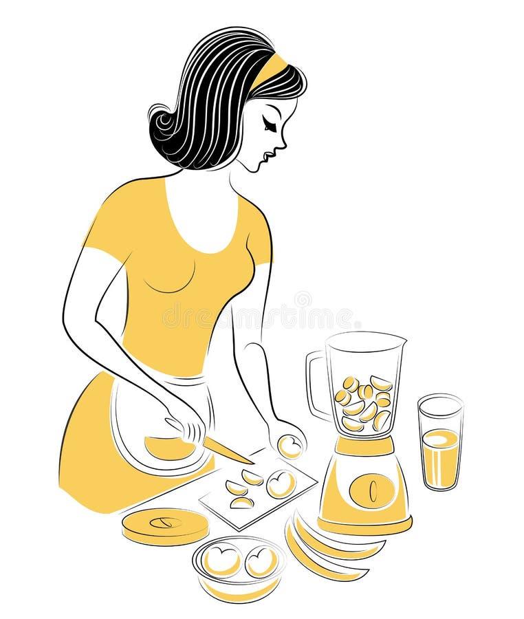 美女的档案 女孩准备食物 妇女打果子搅拌器用新鲜的汁液 r 向量例证