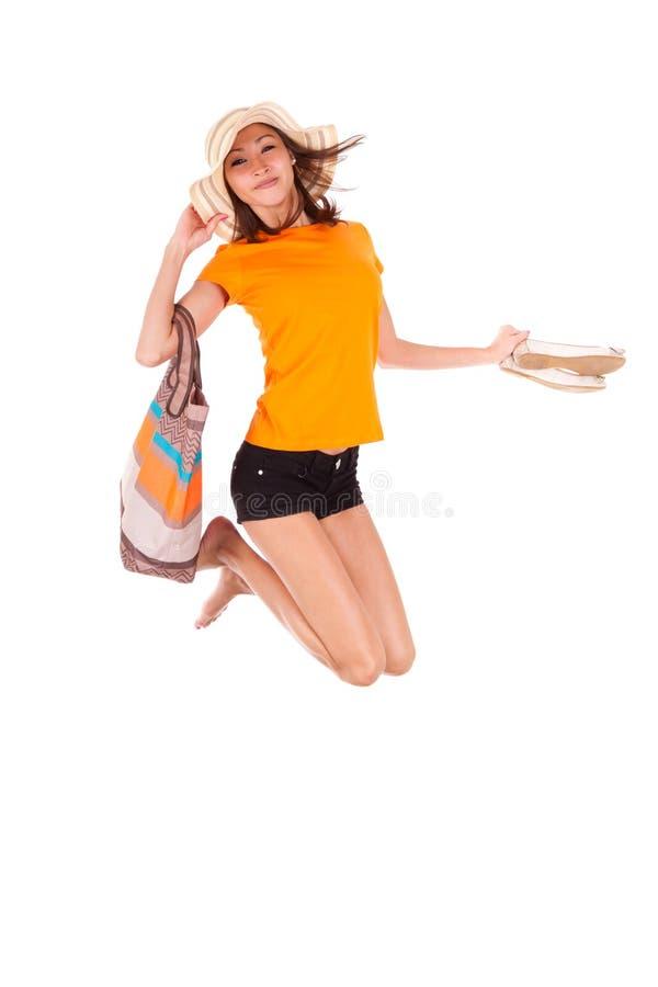 年轻美好亚洲妇女跳跃喜悦-亚裔人民 库存图片