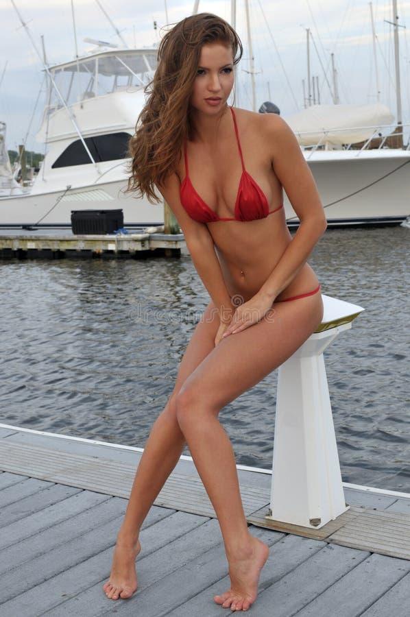 美好健身形状妇女摆在性感在比基尼泳装 库存照片