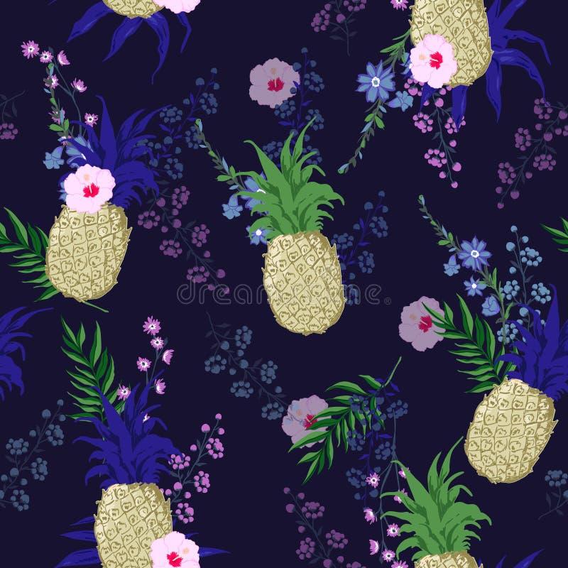 美好和时髦夏天无缝的传染媒介花卉图案样式 向量例证